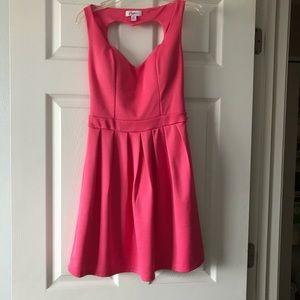 Pink Heart Cut-Out Skater Dress